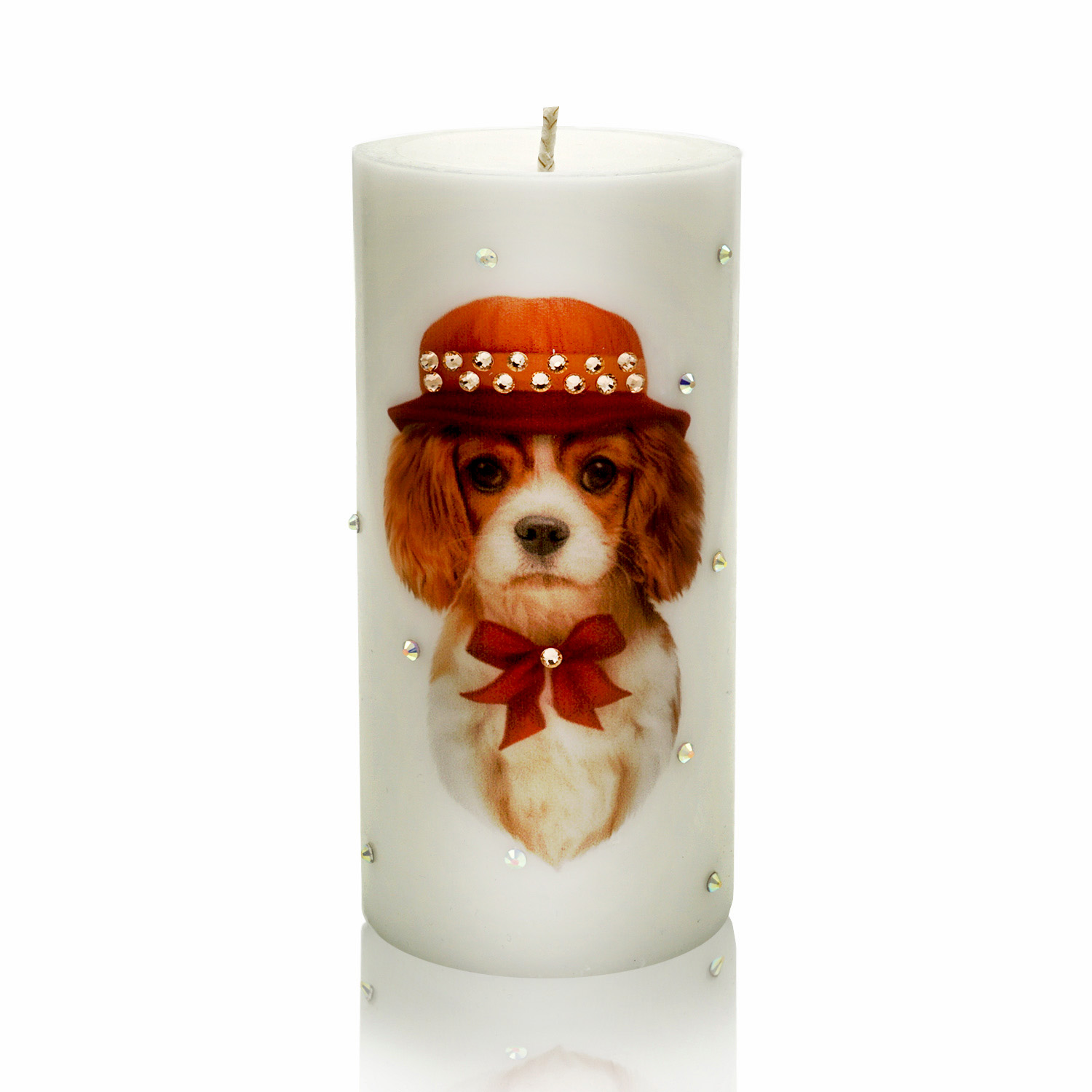 Luxury New Year of the Dog Pillar Candle – Cavalier King Charles Spaniel in Orange Hat and a Bow Gift Candle Hand-printed with Rhinestones