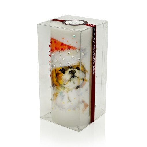 Luxury Holidays Pillar Gift Candle - Shih Tzu Hat Gift Candle Hand-printed Rhinestones NYC Christmas Gifts