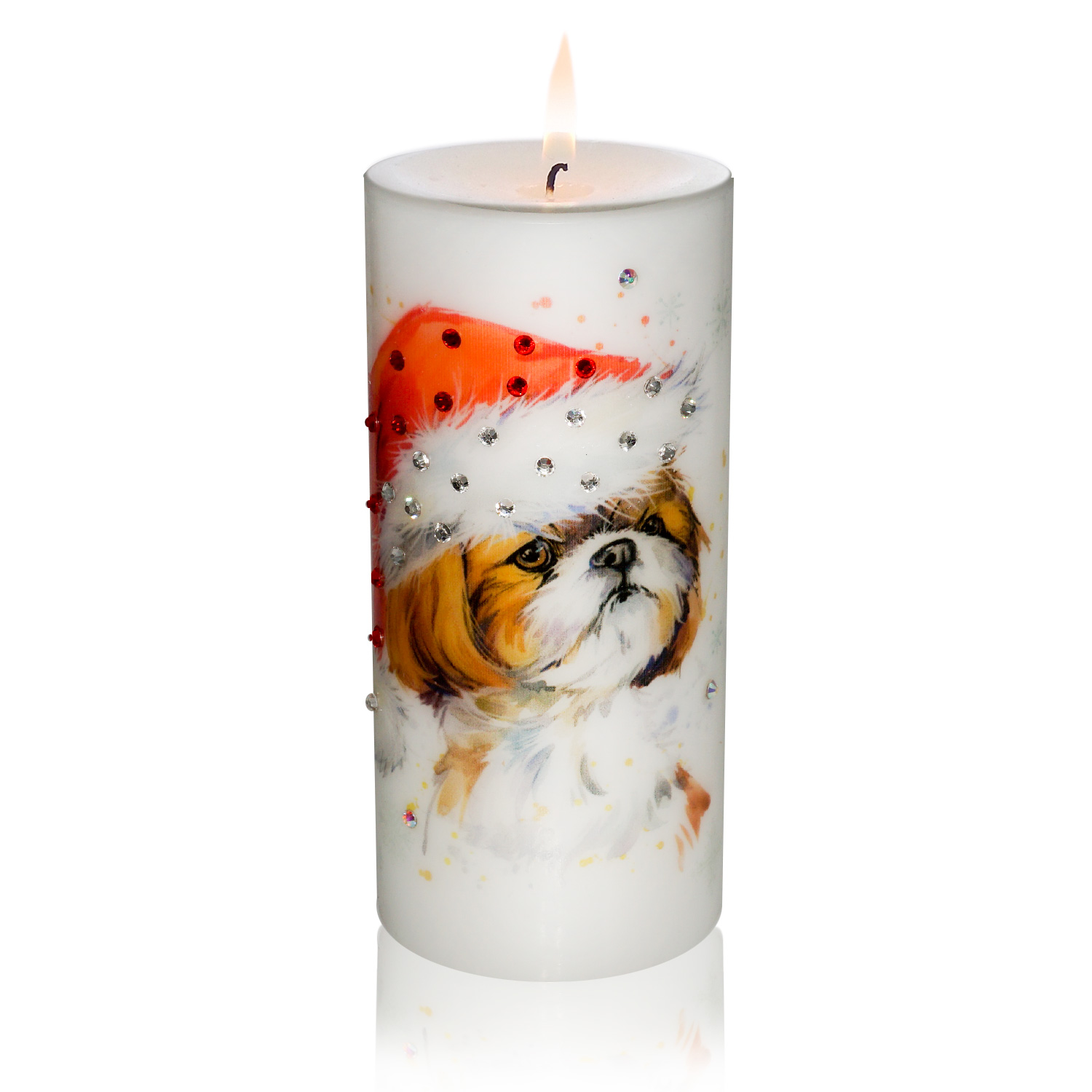 Luxury New Year of the Dog Pillar Candle - Shih Tzu in a Hat Gift ...
