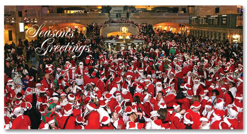 Santacon Grand Central NYC Christmas Money Card Set of 6