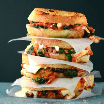 Grilled Cheese with Spinach and Tomato Sauce
