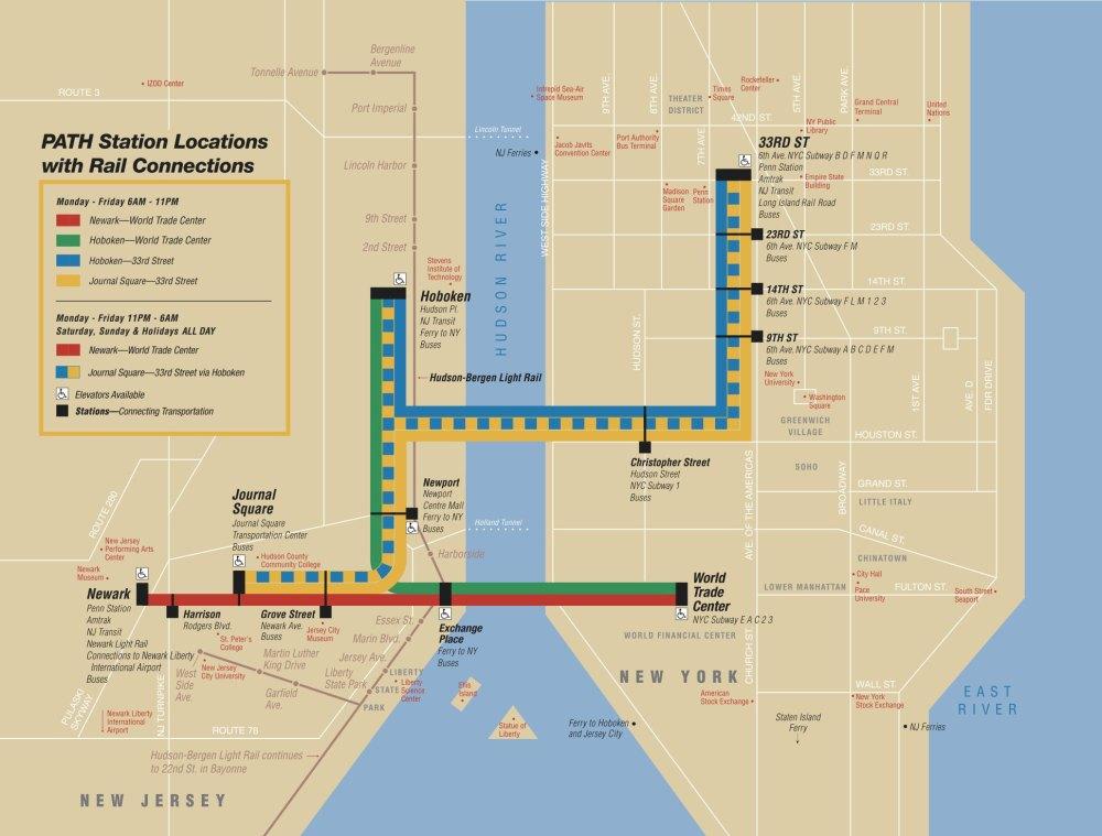 medium resolution of map of new york city port authority trans hudson rail network