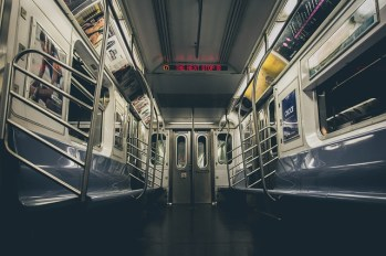 Inside a train car.
