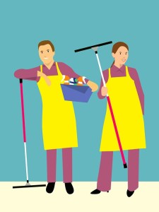 A sketch of two people cleaning.