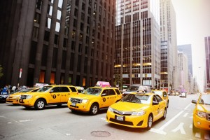 Yellow cabs on street on NYC