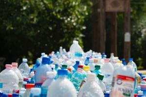 Plastic bottles pile