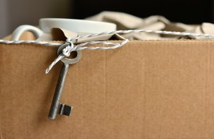 Moving box with a house key