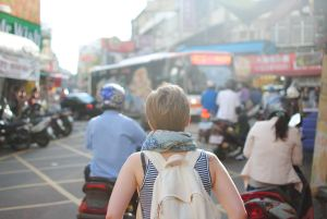 woman exploring city