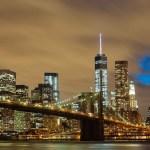 The Brooklyn Bridge, and Brooklyn behind it.