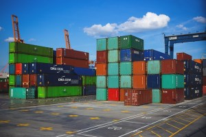 : Portable containers in portable container open warehouse.