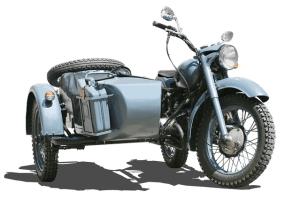 Old blue motorcycle with sidecar.