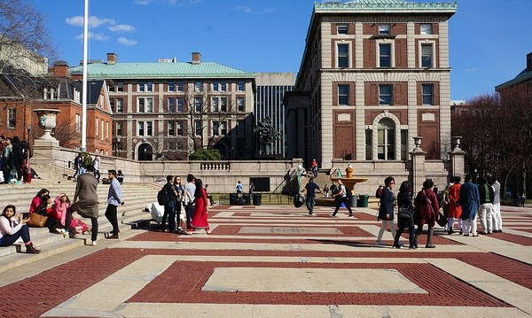 College students living in New York gathering in front of the university.