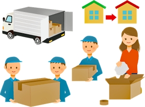 A drawing of movers packing boxes to a moving truck.