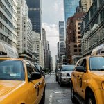 NYC yellow cabs on the street.
