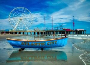 A boat on the Atlantic City boardwalk.