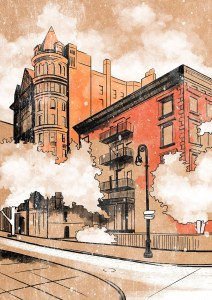 A drawing of a building in Brooklyn.