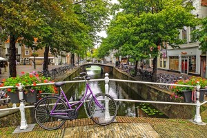 a purple bike parked on a bridge looking over a beautiful canal.