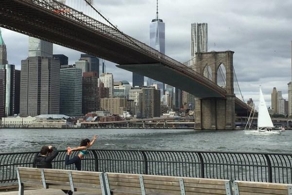 A view of the Brooklyn Bridge.