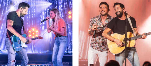Kelsea Ballerini (left) and Michael Ray (right) with Old Dominion's Matthew Ramsey, Photo By Mason Allen