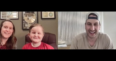 Russell Dickerson virtually meets with St. Jude patient Ian and his mom, Anna