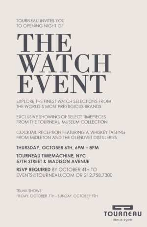 Tourneau Watch Event- Thursday October 6th | NYCPlugged