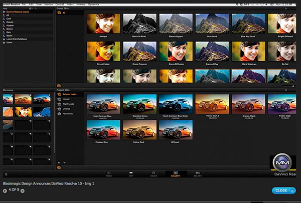 The ability to quickly add specific looks to footage make DaVinci Resolve 10 good for on-set use.