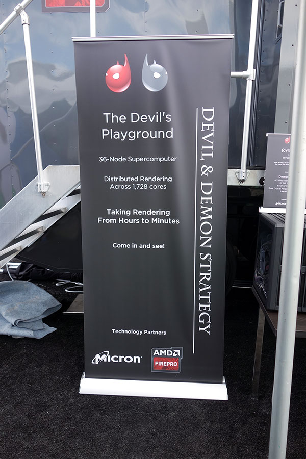 The Devil & Demon Strategy parked its supercomputer-in-a-trailer on the NAB Midway. Ted Schilowitz, president of the company, came from a long-time position at RED. The company, which has a Hollywood office, calls its products more cost-competitive for anyone using The Foundry's Nuke, Autodesk Maya or 3D Studio Max.