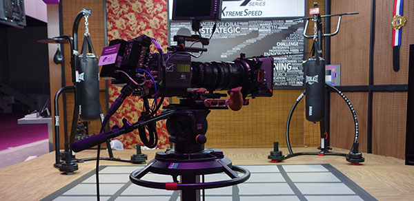 While it was also shown in a shoulder mount version, Grass Valley's new 4K camera is another model with a profile that ends up extended so far that camera operators need near acrobatic versatility in handling it.