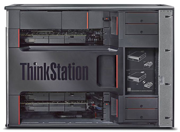The internal layout of the Lenovo P900 ThinkStation is sleek yet easy to change out.