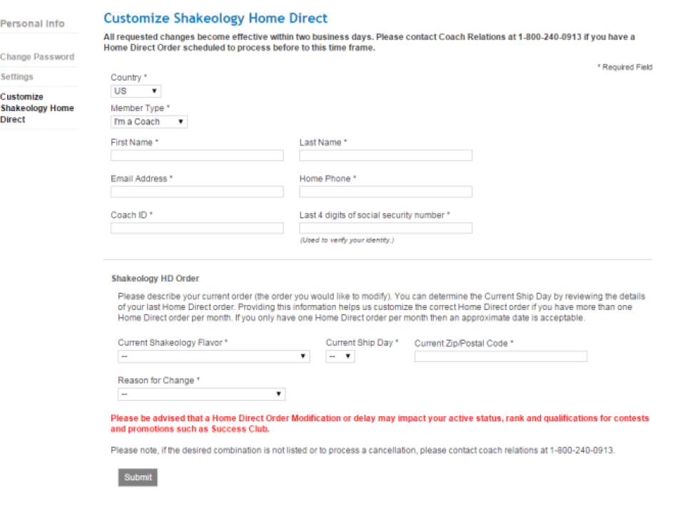 shakeology Cancel Auto form