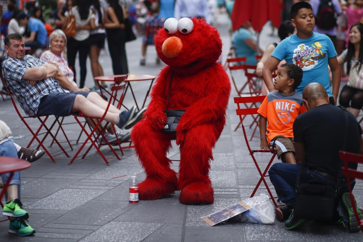 Dealing with the cartoon characters in Times Square