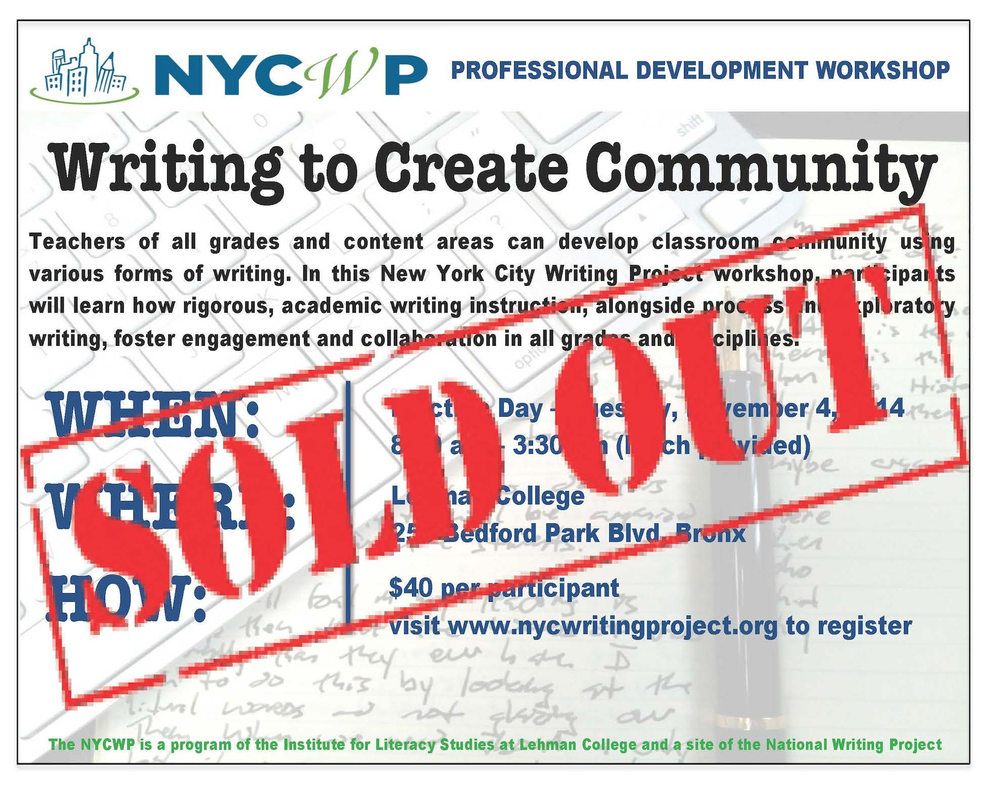 New York City Writing Project Election Day Pd Workshop