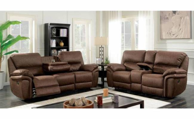 Transitional Brown Fabric Upholstery Reclining Sofa Helga