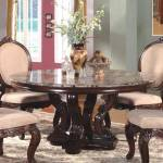 Mcferran Rd0017 6060 Traditional Light Brown Marble Top Dining Room Round Table Rd0017 6060
