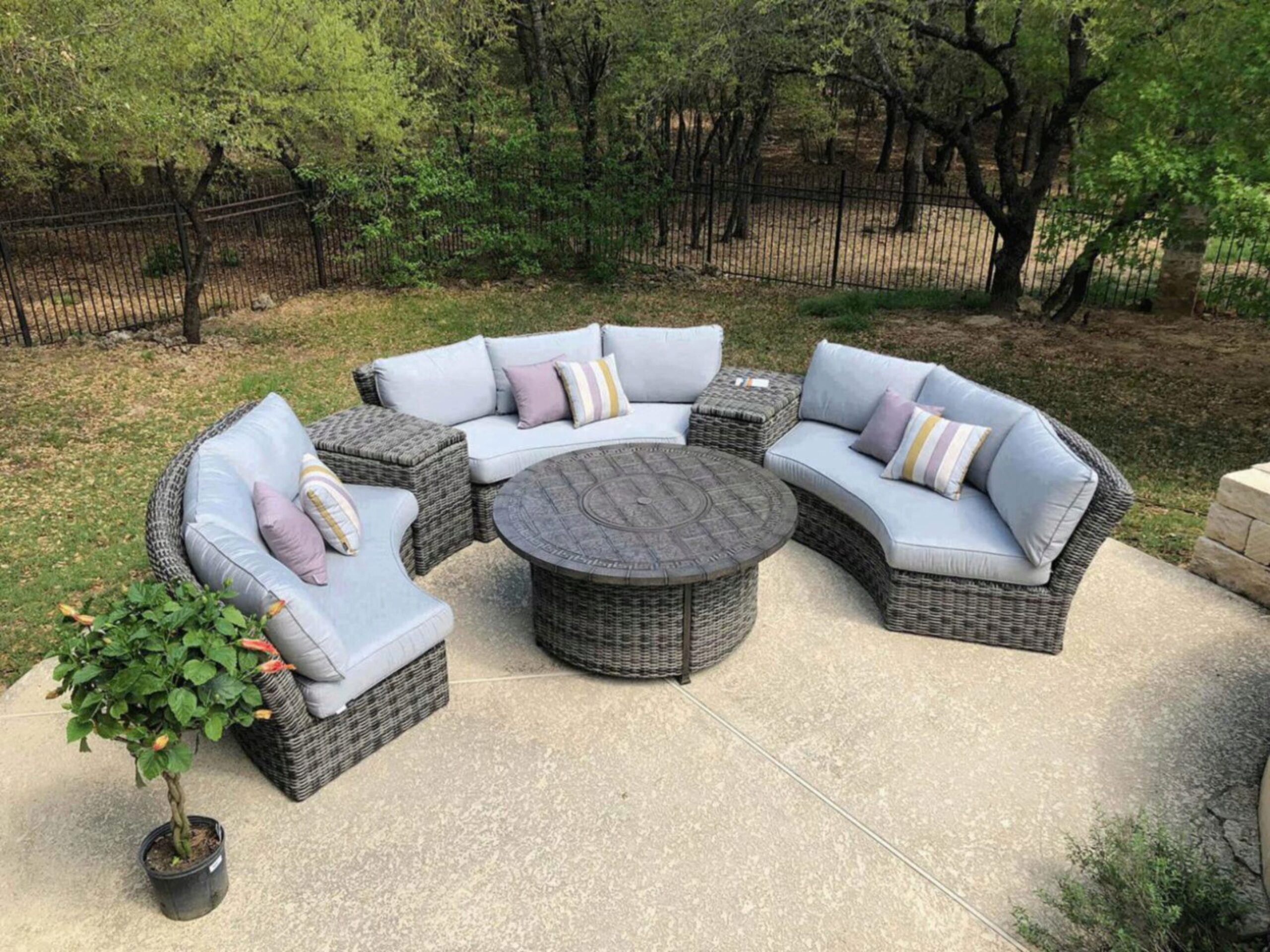 athena wicker fully welded curved circular sofa set 6pcs w firepit table by calipatio special order