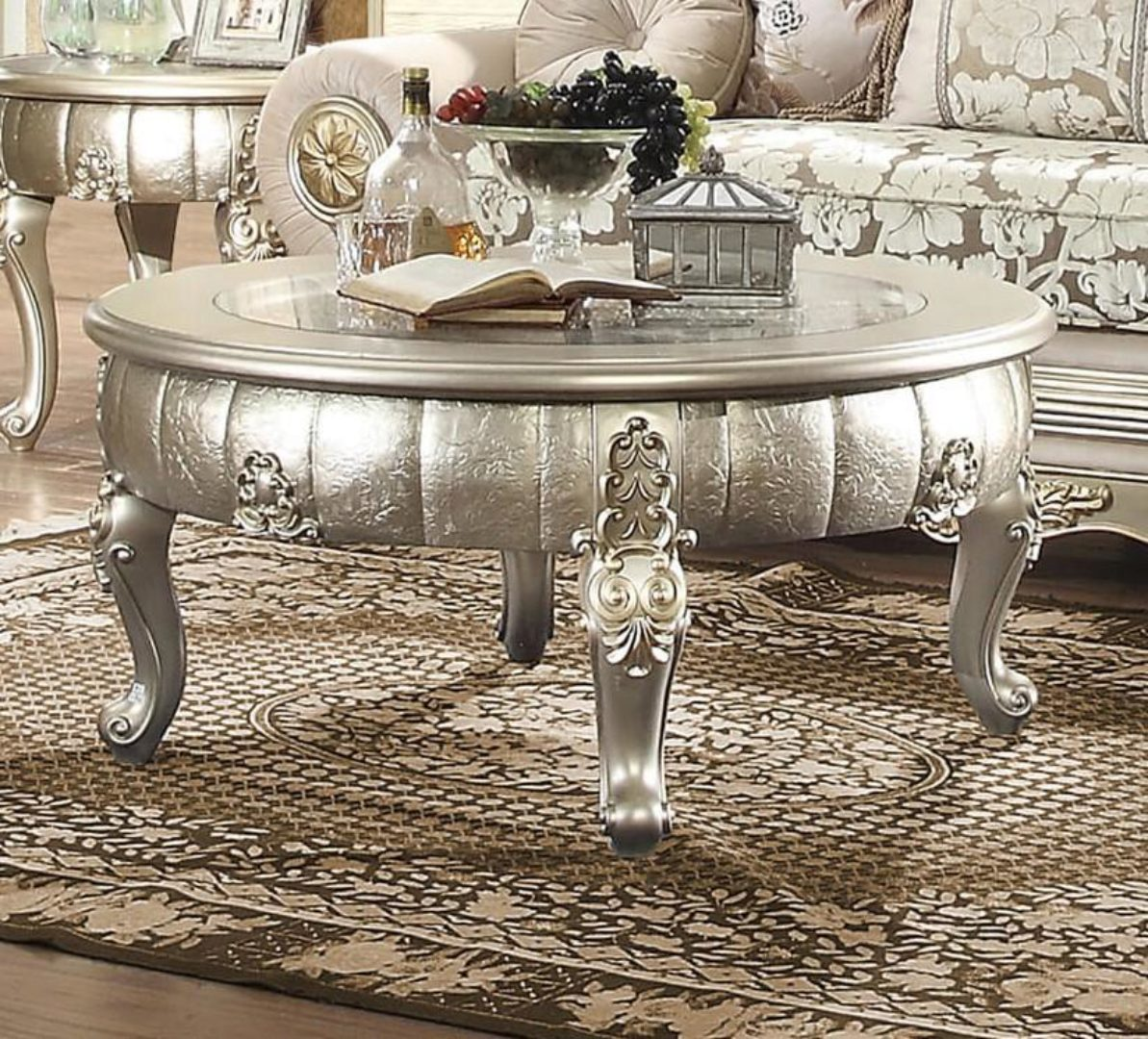 belle silver coffee table carved wood homey design hd 1560 traditional classic