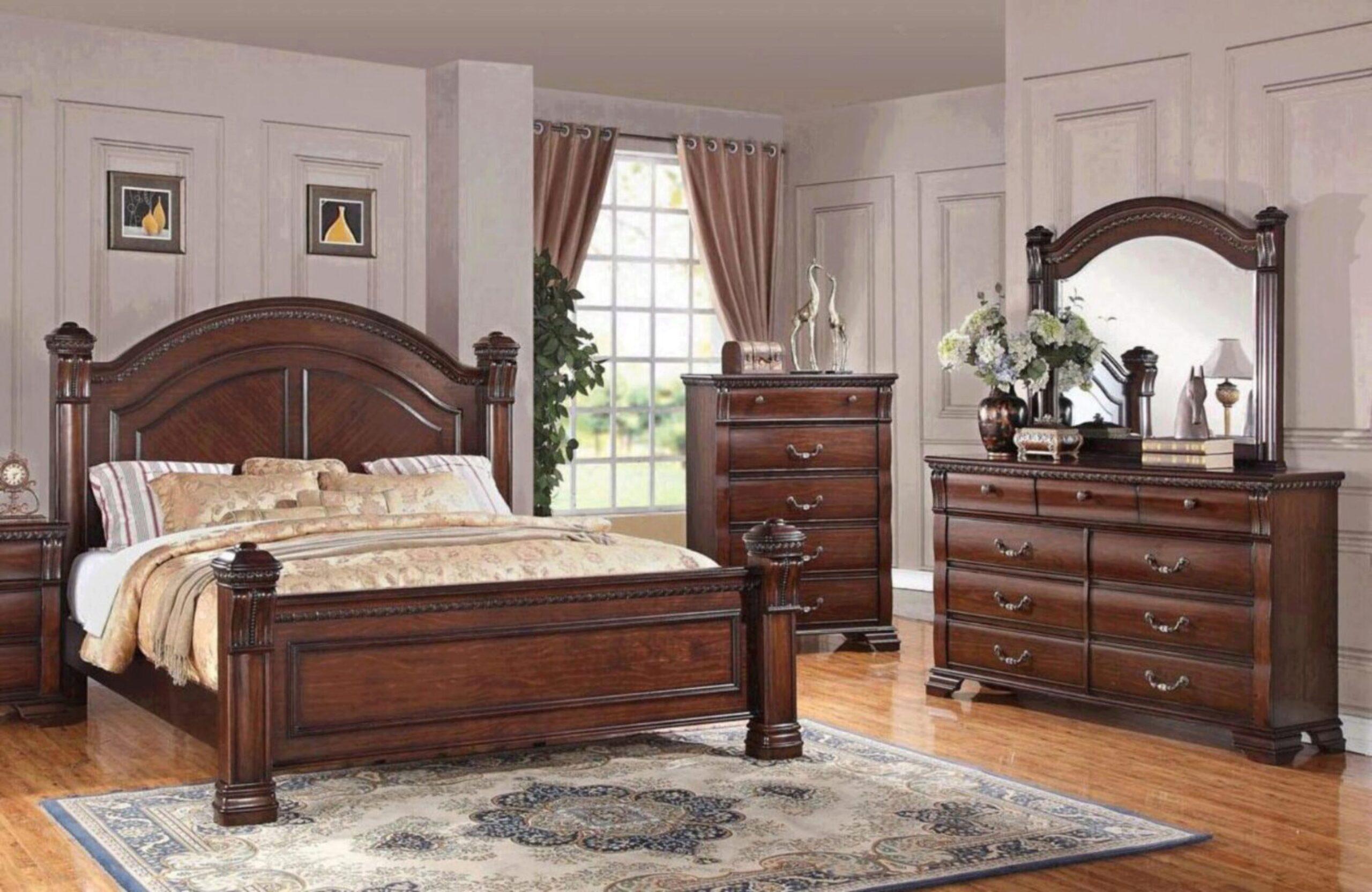 warm cognac isabella 1411 king bedroom set 3pcs bernards solid wood traditional