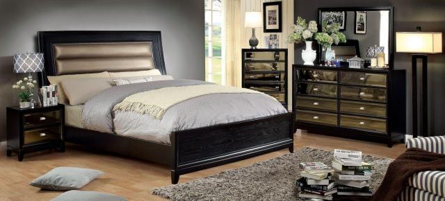 Contemporary Black Finish Upholstered Cal King Bed Golva ...