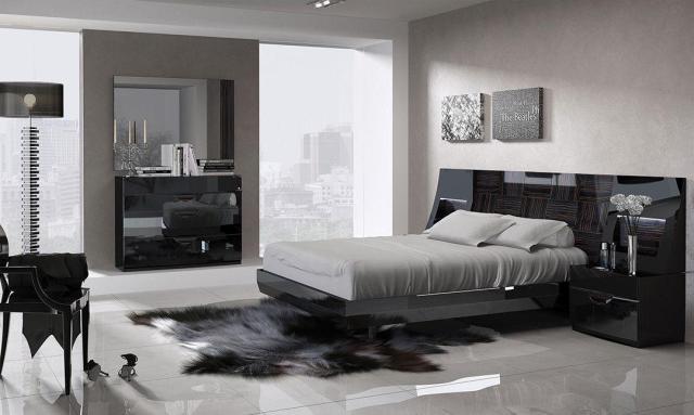 Black & Wood Grain Lacquer Queen Size Bedroom Set 5Pcs ...