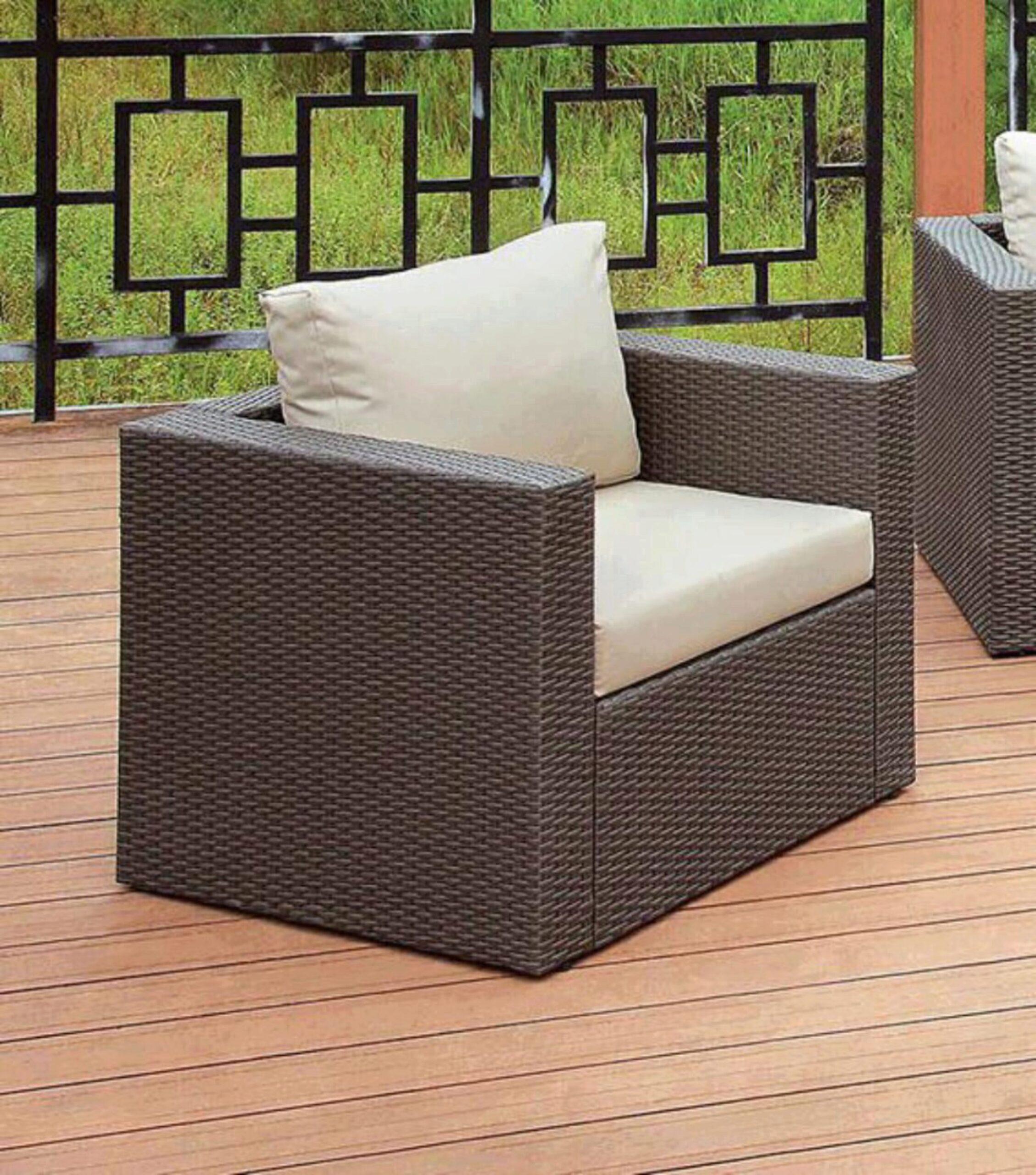 furniture of america davina brown wicker patio sectional w ottoman storage set 6 pcs