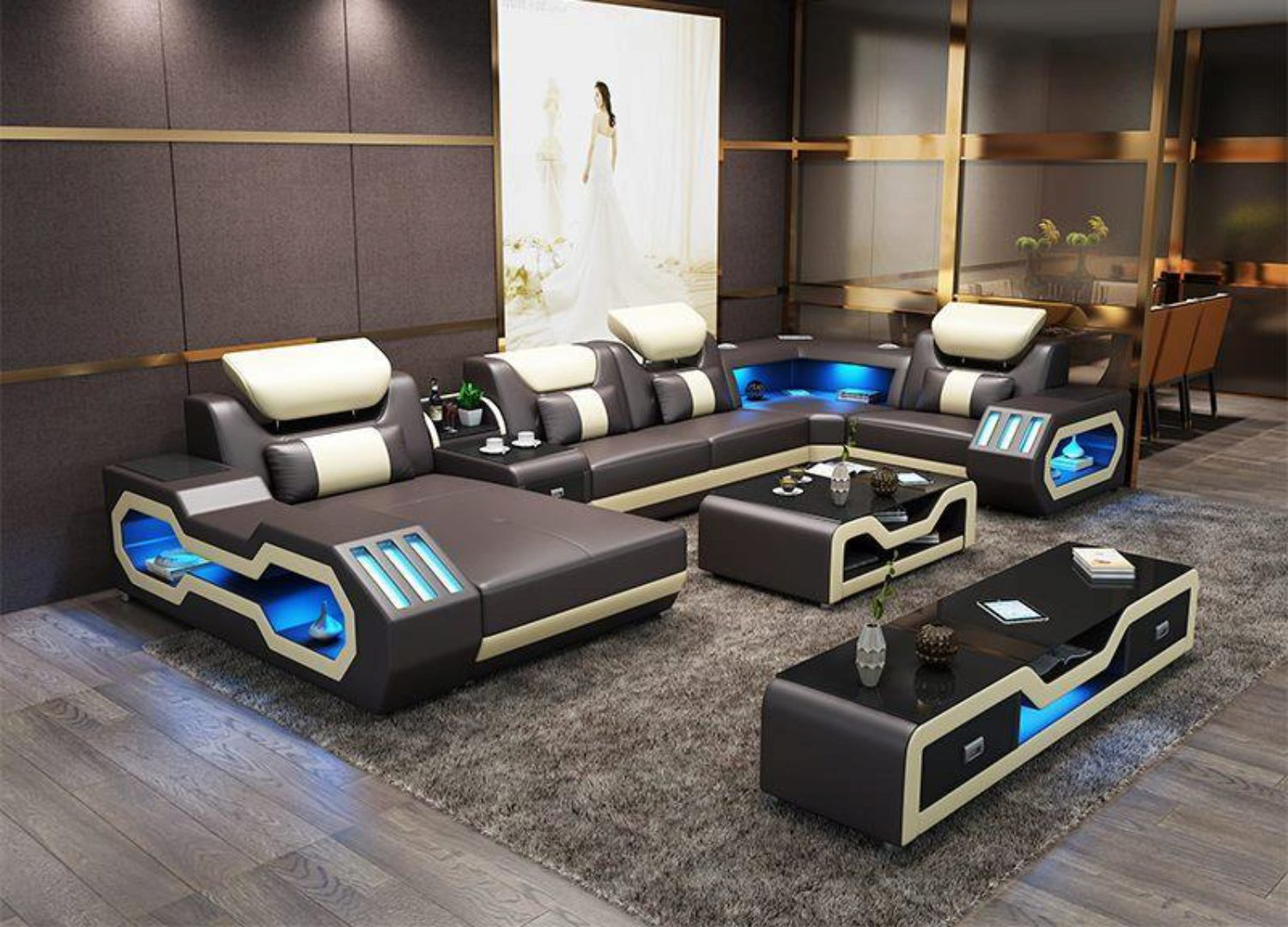 Grey Top Leather Sectional Sofa Led Light Maxwest P866 Ultra Modern P866