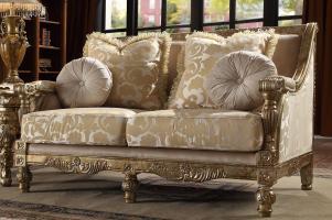 Antique Gold Victorian Chenille Sofa Set 2Pcs Traditional ...