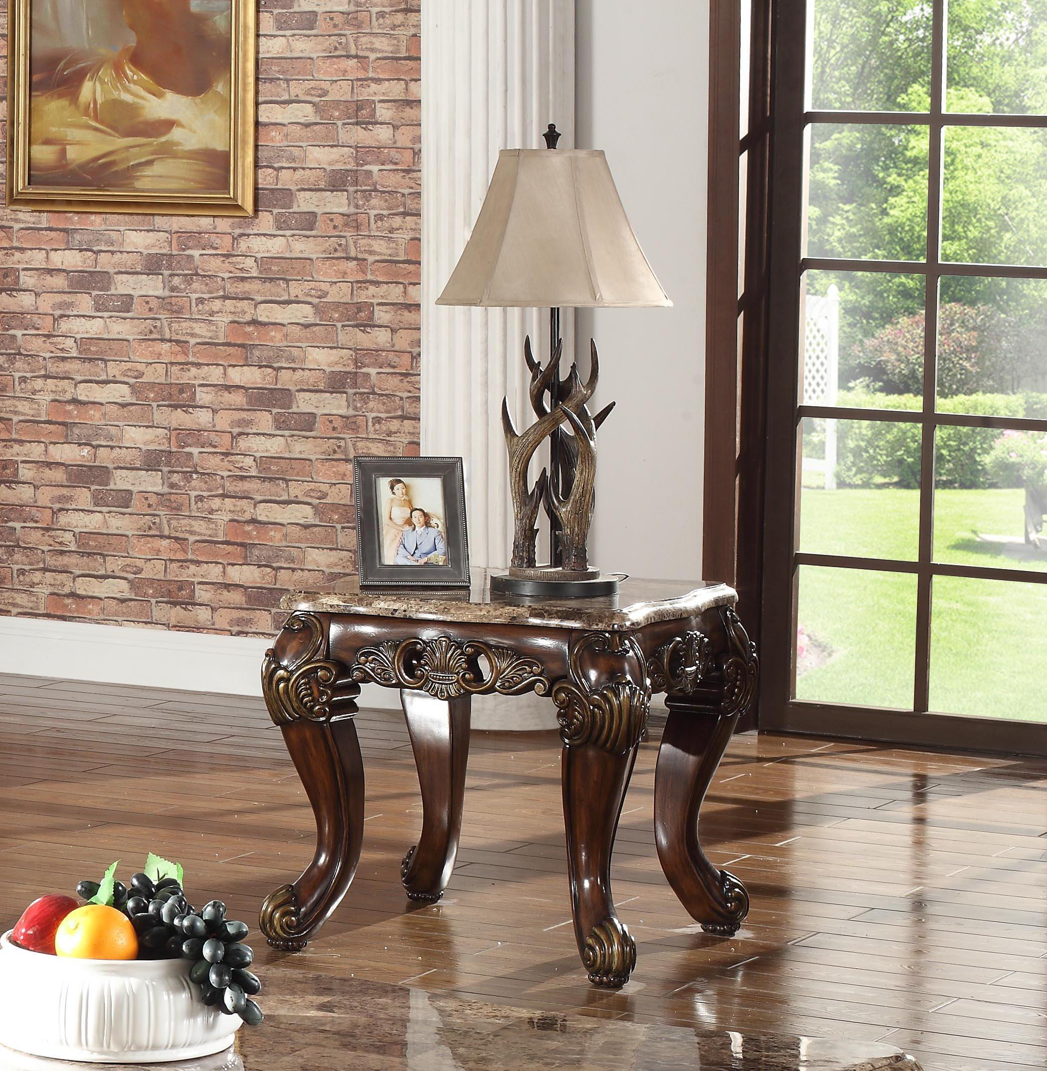mcferran t5190 traditional marble top cherry finish coffee tables set 3pcs