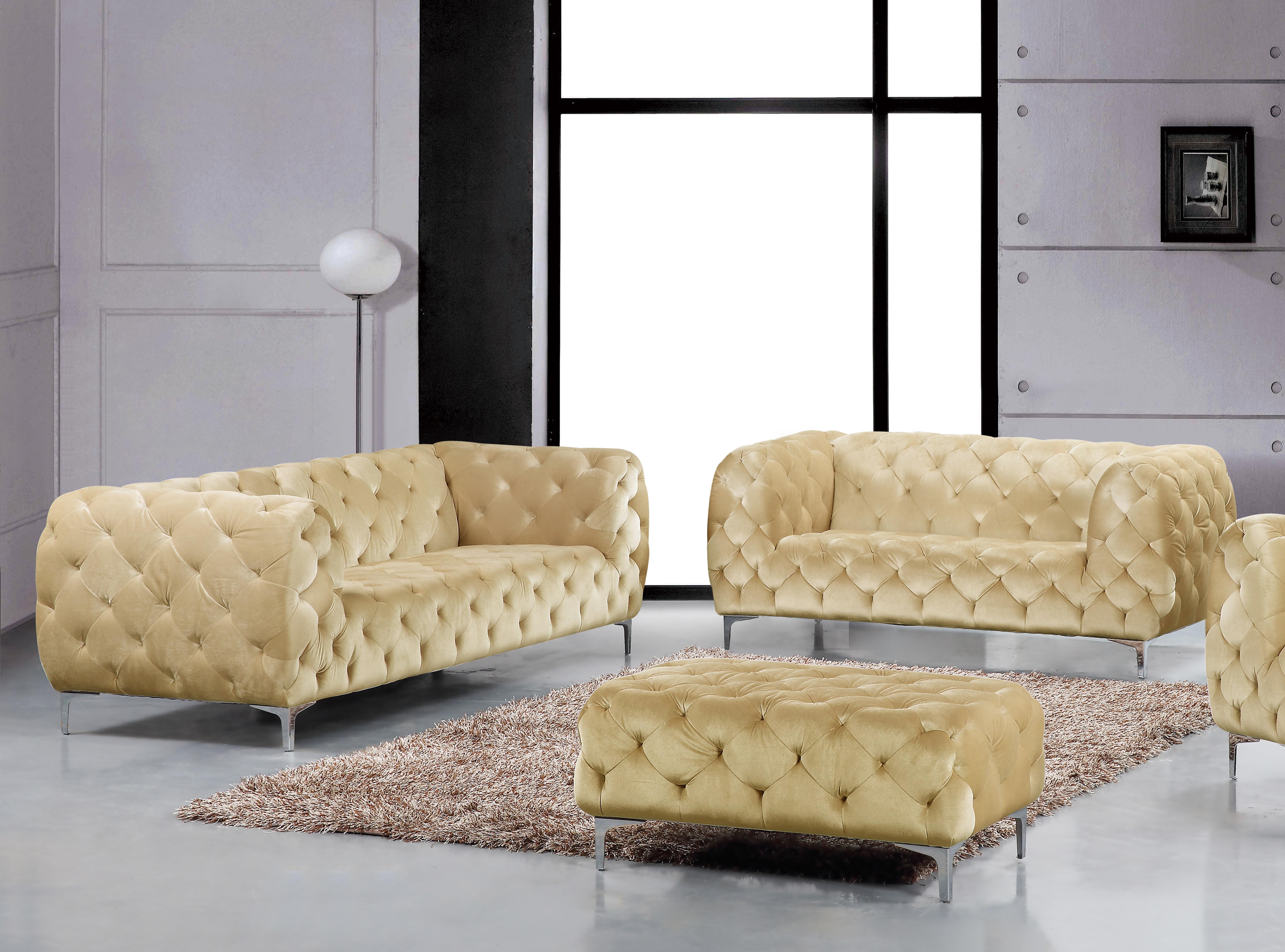 Beige Velvet Tufted Sofa Loveseat Set 2pc Modern Meridian Furniture 646 Mercer 646be Set 2