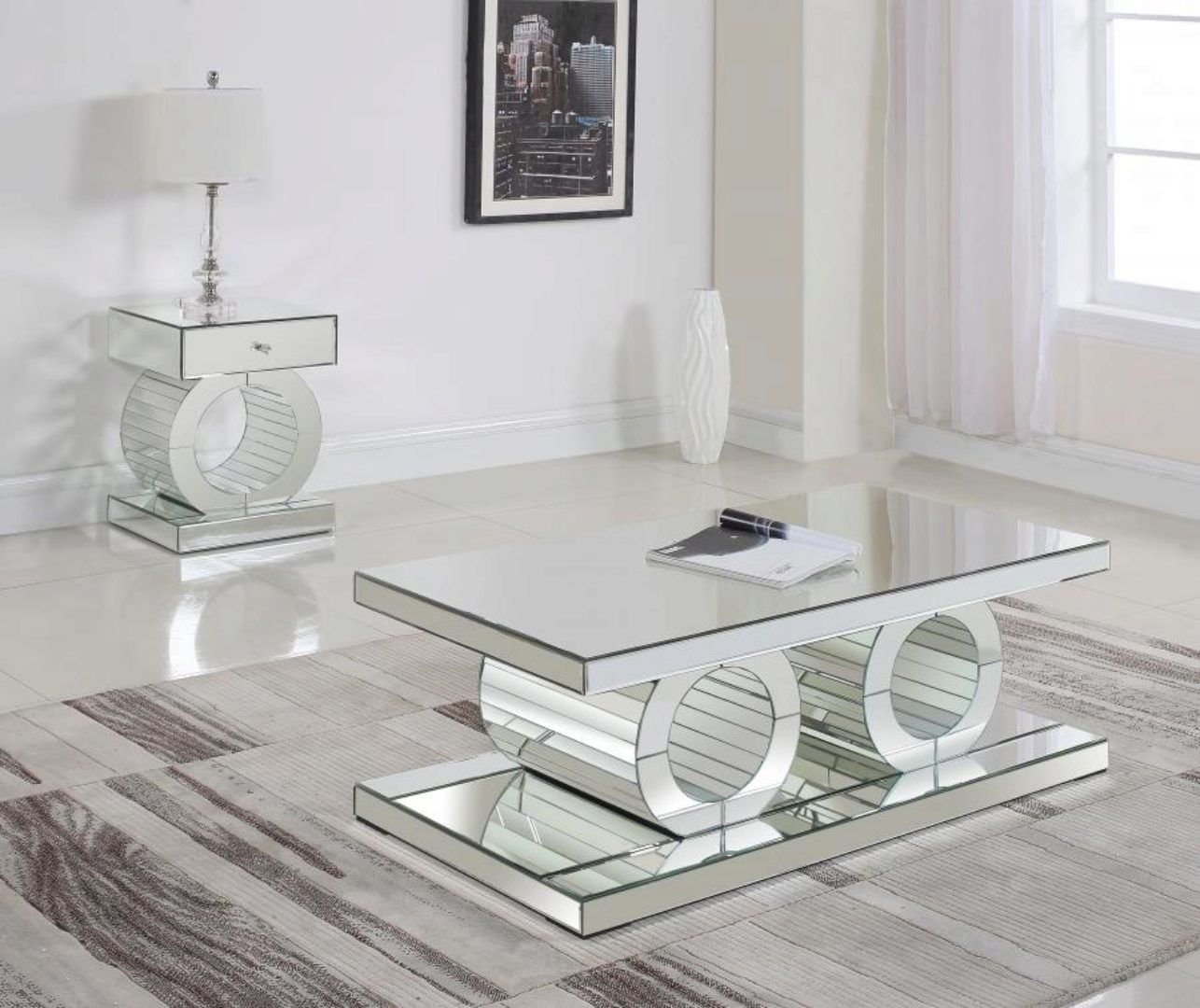 modern crystal acrylic coffee end table set 2pcs meridian furniture jocelyn