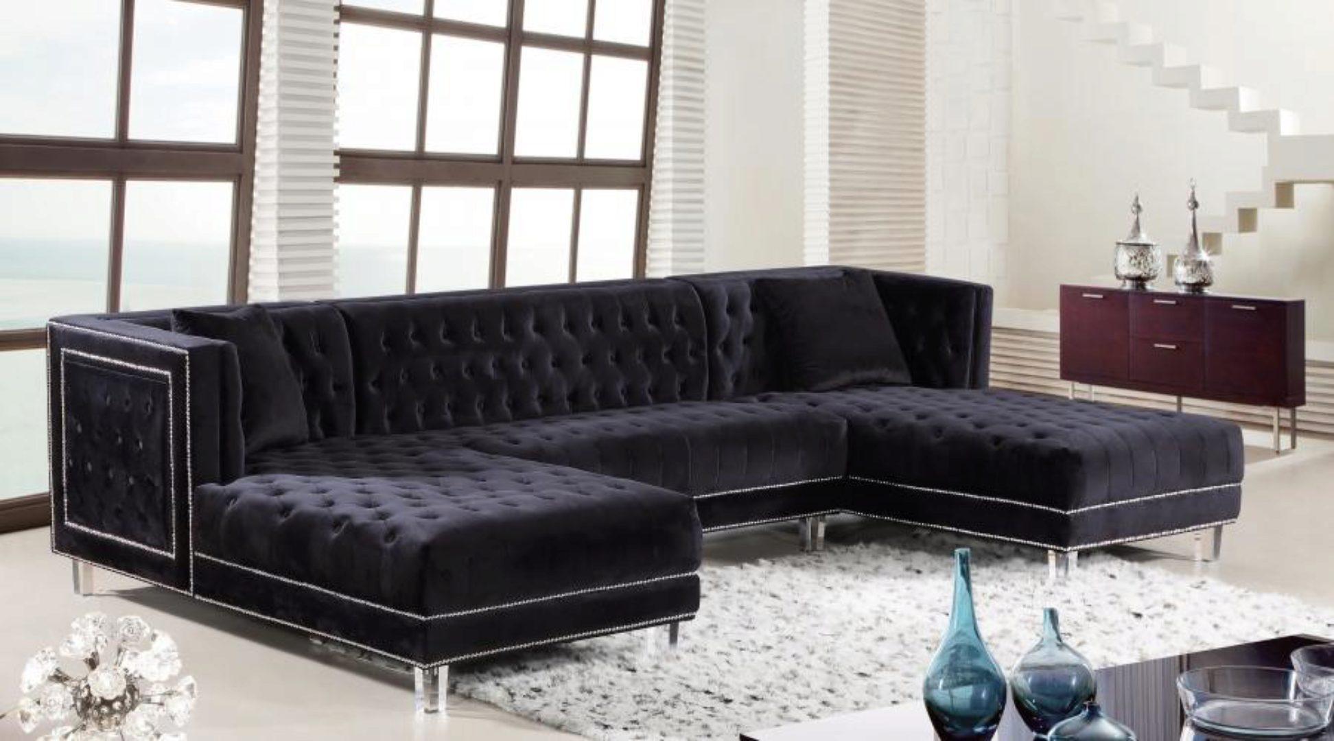 meridian furniture 631 moda black velvet acrylic legs double chaise sectional