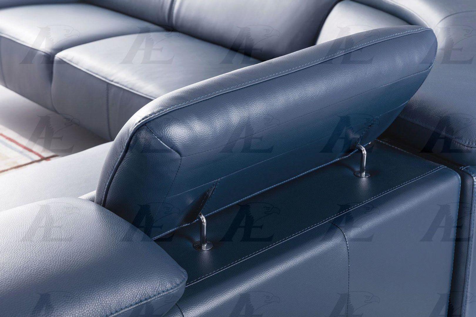 navy blue italian top grain leather sectional set american eagle ek l8002m nb