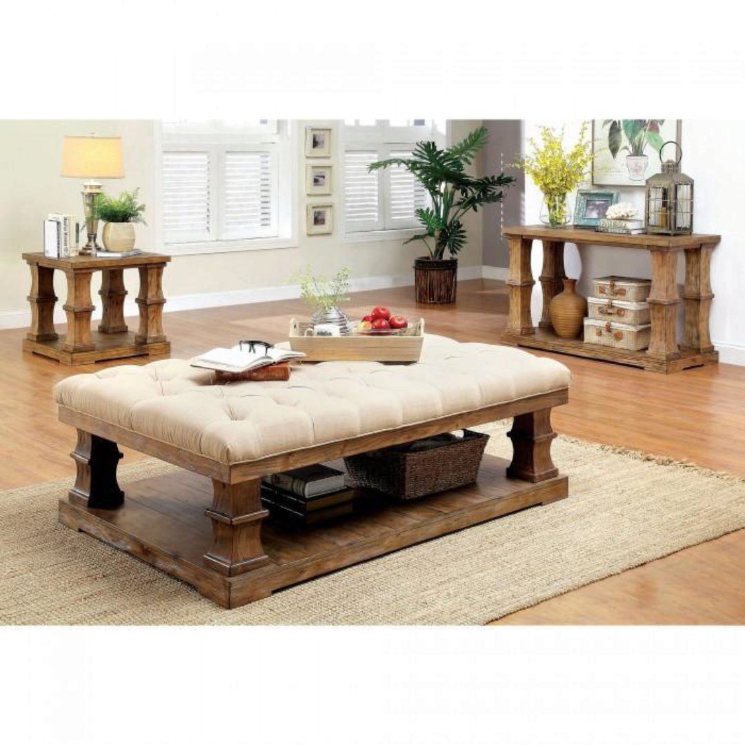 rustic fabric upholstery coffee table granard by furniture of america