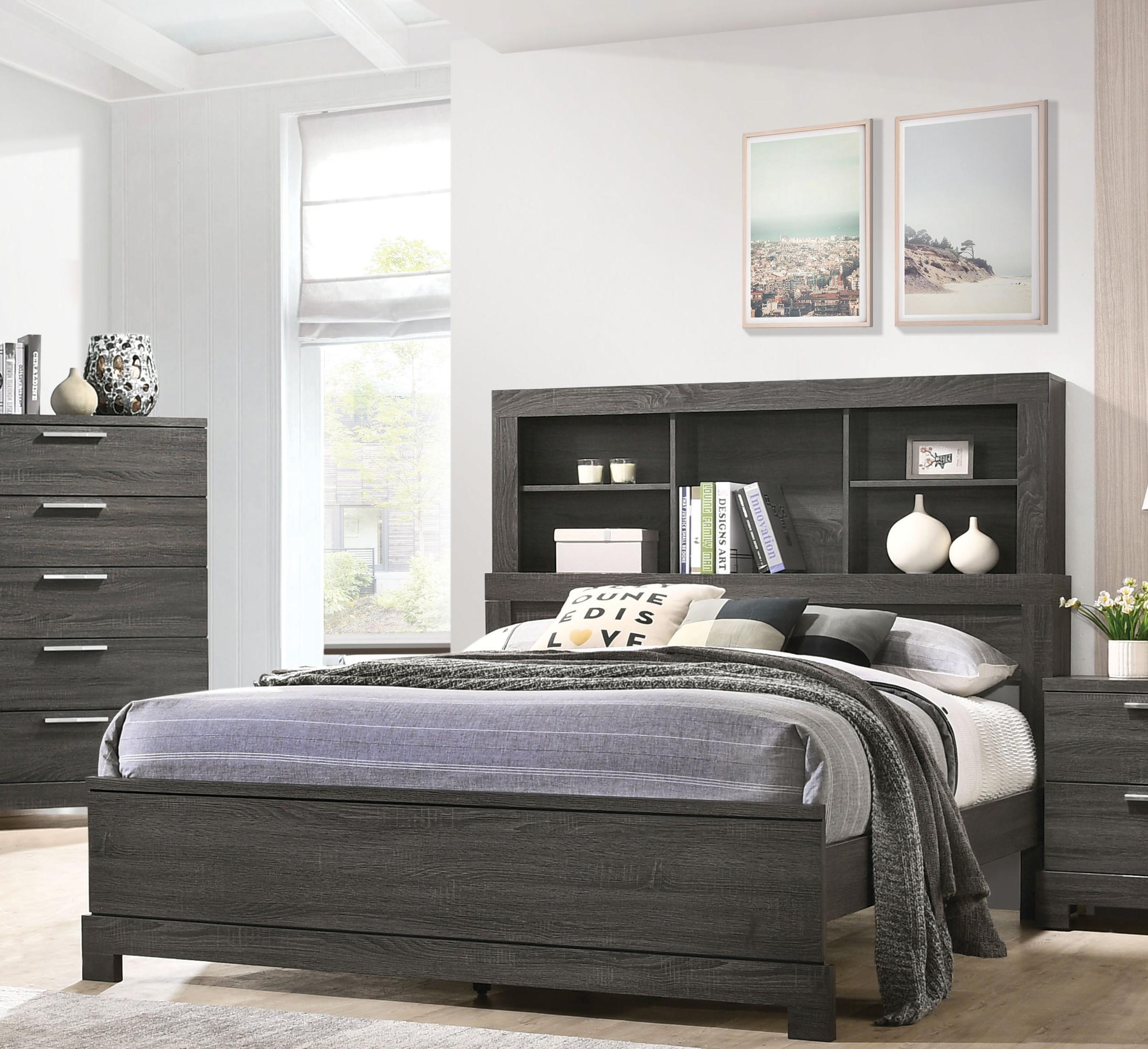 Transitional Gray Finish Bookcase Storage Headboard King Bed Lantha 22027ek Acme 22027ek