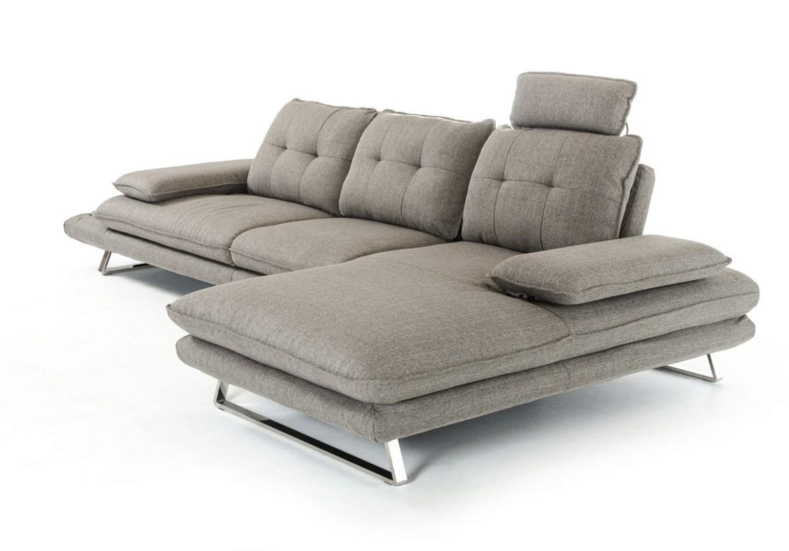 grey fabric tufted sectional sofa vig divani casa porter modern right chaise